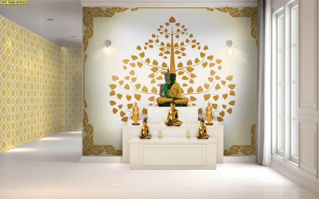 ตัวอย่างวอลเปเปอร์สั่งพิมพ์ ลายไทยต้นโพธิ์ สีทอง